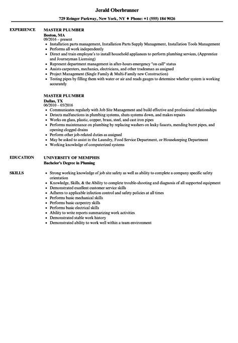 Plumber Resume by Plumber Resume Exle Resume