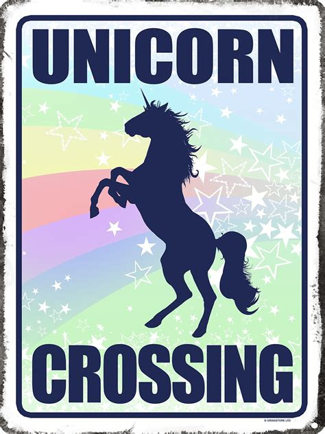 sign of the unicorn series 3 unicorn crossing tin sign buy at grindstore