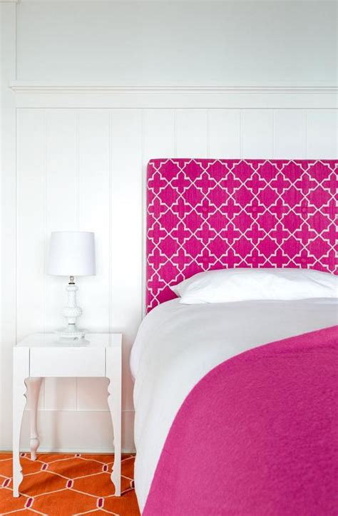 Pink Upholstered Headboard Pink Upholstered Headboard With Orange Rug Contemporary S Room