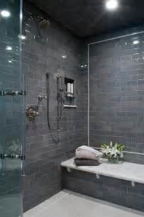 Modern Subway Tile modern shower and bathtub fully clad with grey subway tiles
