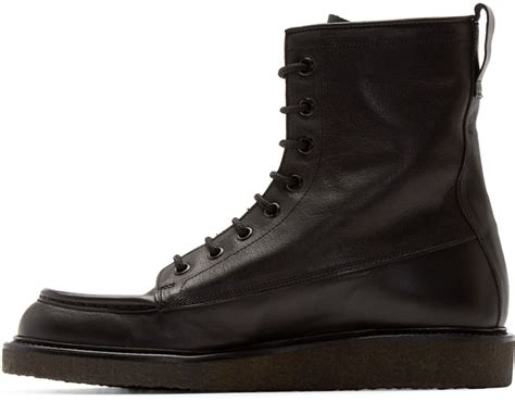 mechanic boots lyst common projects black leather mechanics boots in