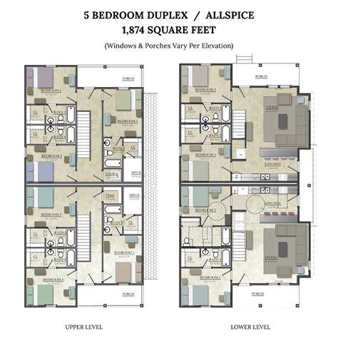 5 Bedroom Duplex Design 5 Bedroom Duplex Floorplan Allspice The Junction At College Station