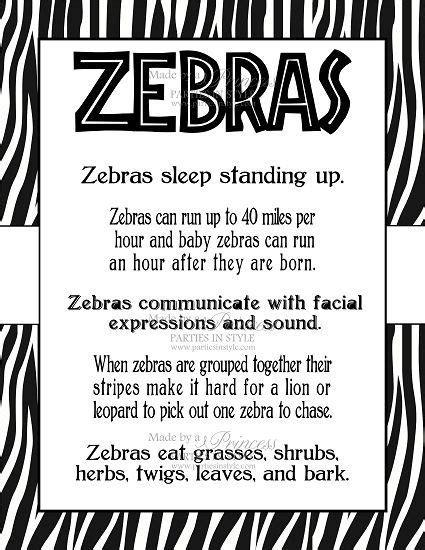 printable zebra facts safari wild adventure printable 8x10 zebra facts poster