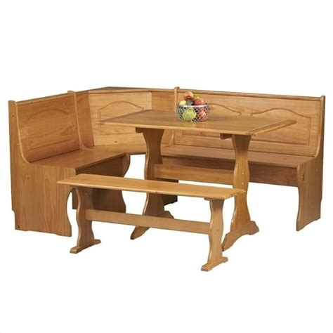 corner table and bench set linon chelsea nook table bench natural dining set ebay