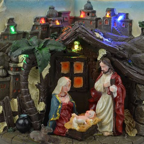 christmas nativity sculpture set musical light up indoor
