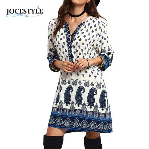 womens dress autumn sleeve floral tribal printed
