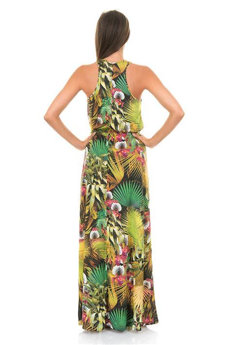 Robe Longue Tropical - longue robe de plage verte sans manche imprim 233 tropical