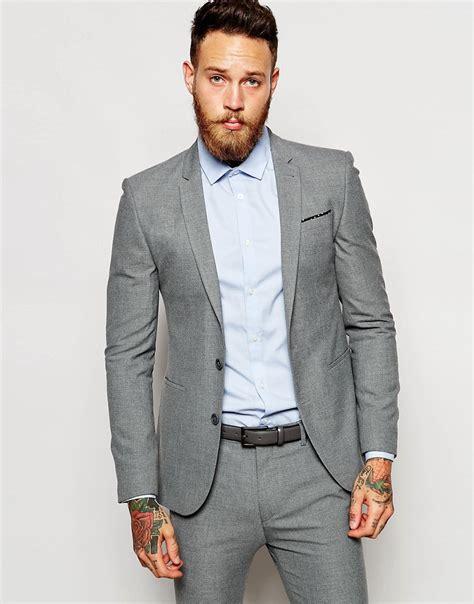 light grey suit vest asos super skinny suit jacket in light gray in gray for