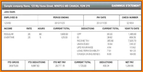 7 Paycheck Stub Template For Excel Sles Of Paystubs Excel Pay Stub Template Canada