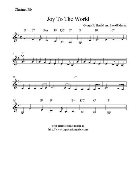 printable sheet music for clarinet joy to the world free christmas clarinet sheet music notes