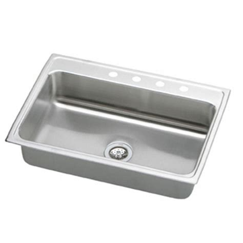 Single Basin Stainless Steel Kitchen Sink Elkay Lustertone Drop In Stainless Steel 33 In 4 Single Basin Kitchen Sink Dlrs3322104
