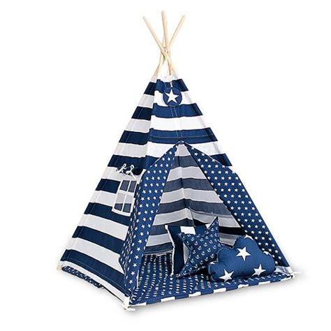tipi kinderzimmer blau teepee tent navy stripes kinderzimmer blau rot