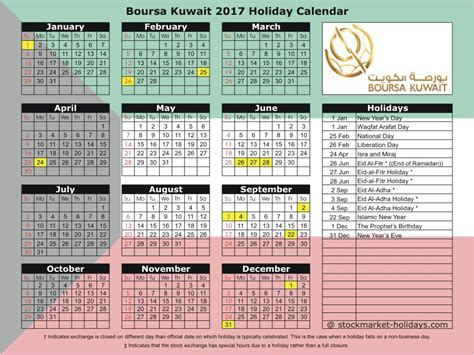 printable calendar 2015 kuwait boursa kuwait holidays 2017 2018 kuwait stock exchange
