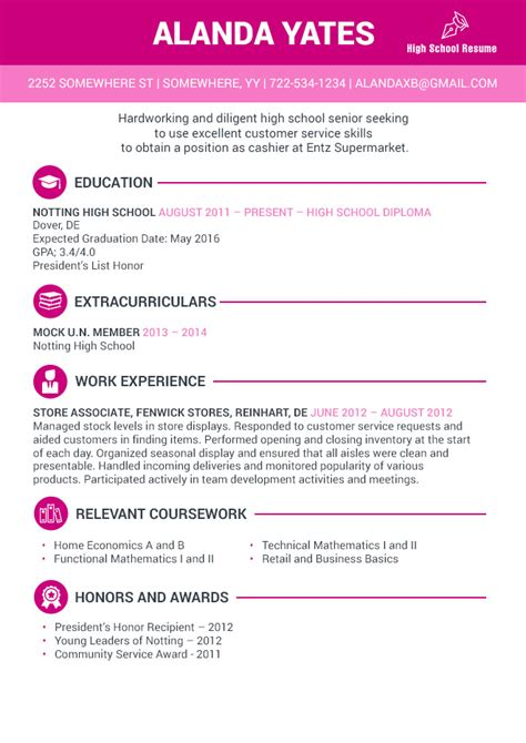 High School Senior Resume by Secrets Of Writing A Striking High School Senior Resume