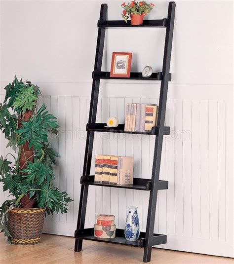 black mahogany finish modern leaning bookcase w five shelves