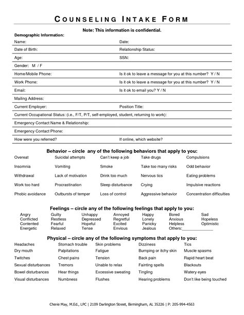 therapy intake form template intake form for counseling clients search