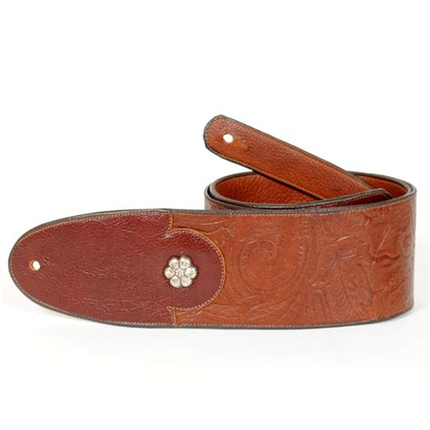 Handmade Straps - handmade embossed guitar with sterling rosettes