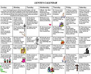 Lent Calendar The Lenten Calendar My Daily Reflections