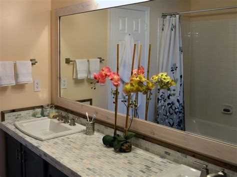 How To Build A Frame Around A Bathroom Mirror Add A Wood Frame Around A Plain Mirror Diy