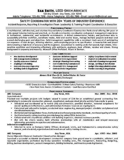Occupational Safety Resume by Safety Coordinator Resume Exle Resume Exles