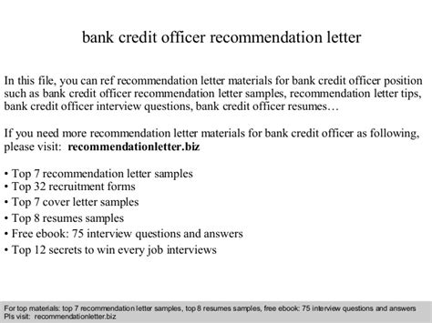 Formal Bank Credit Program Bank Credit Officer Recommendation Letter