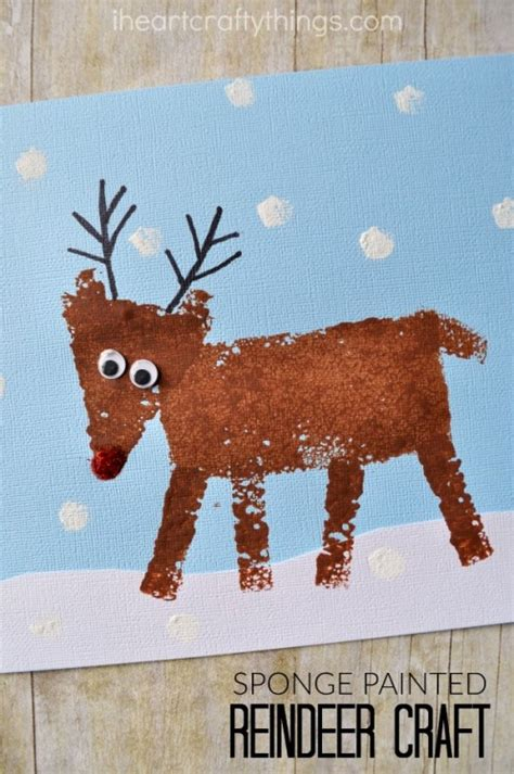 rudolph crafts for preschoolers sponge painted reindeer craft for i crafty things