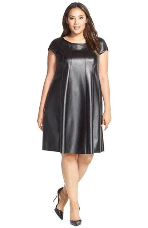 leather swing dress gabby skye faux leather trapeze dress plus size