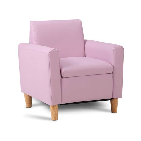 Childrens Leather Sofa Storage Sofa Pink Children Lounge Arm Chair Pu Leather Padded Seat Ebay