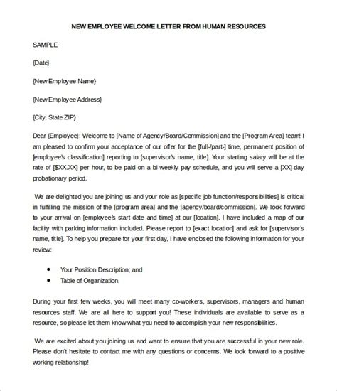 welcome letter new employee the letter sle