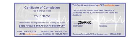 cpr card template business template