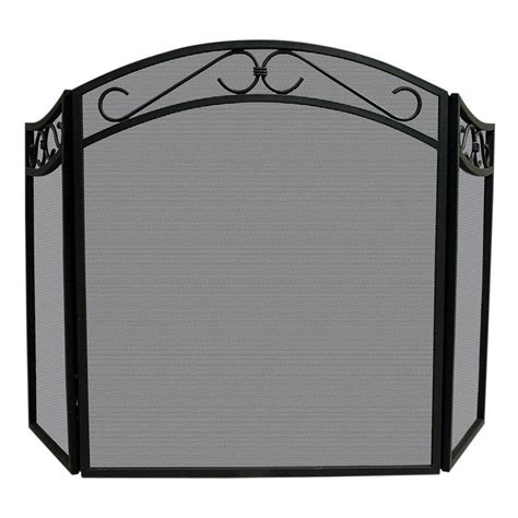 UniFlame Arch Top Black Wrought Iron 3 Panel Fireplace
