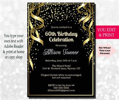 60th anniversary invitations templates 60th birthday invitation 60th birthday party invitation 60th