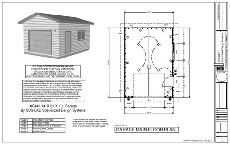 plans for garage the g443 14 x 20 x 10 garage plan blueprint