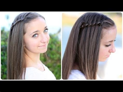 cute hairstyles in youtube pancaked 4 strand waterfall braid cute hairstyles youtube