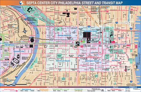 printable street map of philadelphia philadelphia downtown transport map mapsof net