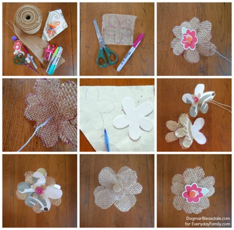 burlap flower template diy burlap flowers
