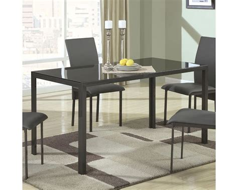 coaster contemporary metal dining table w glass top co 103741