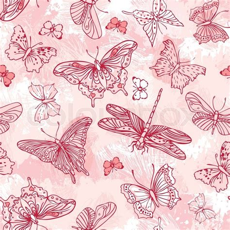 bed sheet texture pattern seamless pattern with butterflies stock vector colourbox