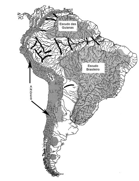 Características topográficas e geológicas da América do
