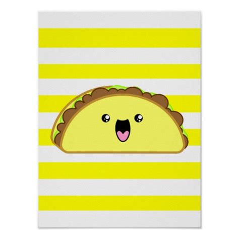taco poster zazzle kawaii taco poster choose your colour zazzle