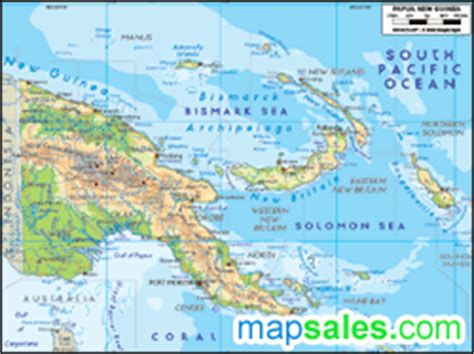 physical map of papua new guinea papua new guinea physical wall map by graphiogre