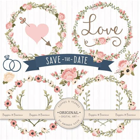 Navy Wedding Clipart by Premium Wedding Floral Clipart Vectors Navy And Blush