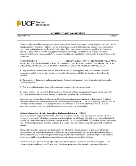 human resources confidentiality agreement template 10 human resources confidentiality agreement templates