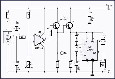 overheat detector alarm lm35 circuit project