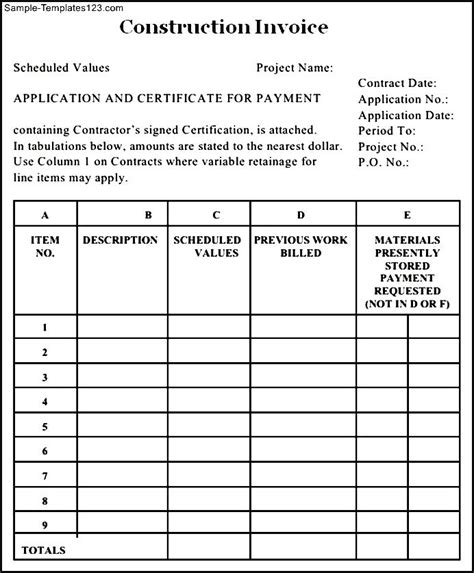 construction invoice template pdf construction billing invoice template pdf sle