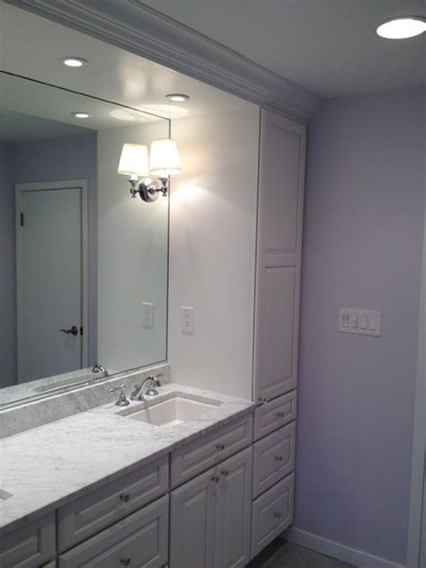 Built in vanity, white cabinets   Traditional   Bathroom