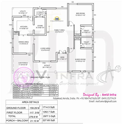 ground floor plan 5 bedroom house elevation with floor plan home kerala plans