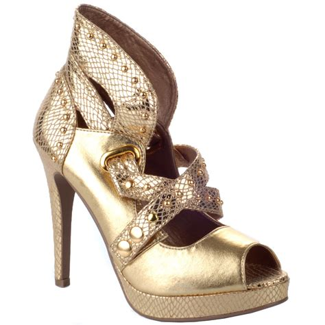 gold shoes size 3 gold heeled studded sandals shoes size 3 8 ebay