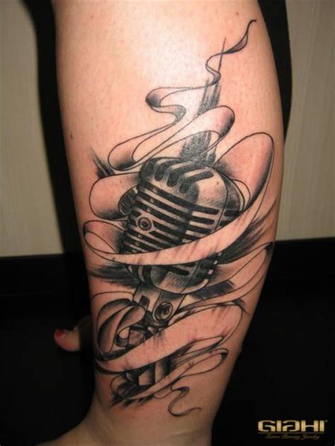 tribal microphone tattoo leg microphone by giahi