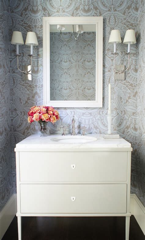 powder rooms with wallpaper blue powder room with thibaut cheetah wallpaper